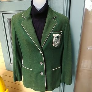 Vintage 50s Green Wool Preppy School Blazer